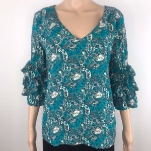 Solitaire Rayon paisley ruffled sleeve blouse Sz L